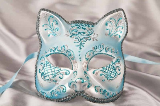 Turquoise Silver Cat Mask for Animal Masquerading