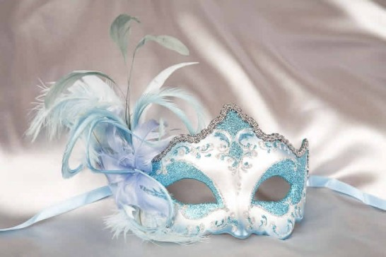 side feather masquerade mask in turquoise