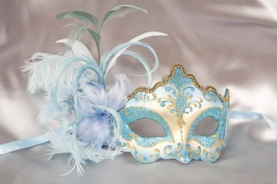 turquoise feathered mask - Daniela Gold