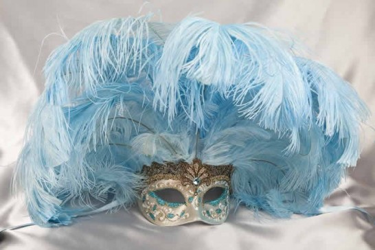 Full feathered Rio carnival mask for Venetian ball in gold and turquoise