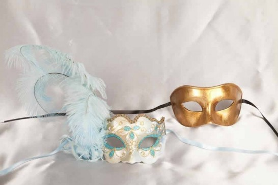 Turquoise Colo Iris Gold - Couples Masks with Feathers