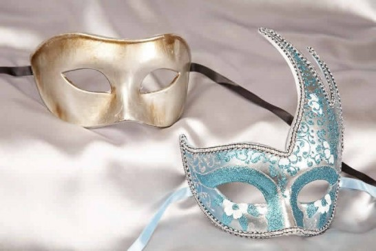 Turquoise silver masquerade ball masks for couple