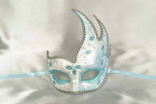 Turquoise Cigno Fiore Silver - Swan Shaped Carnival Masks