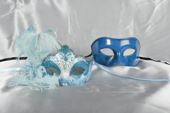 turquoise and silver masquerade masks - Daniela Colombina