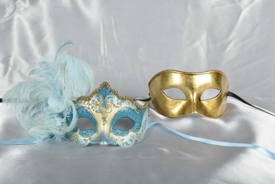 Turquoise and gold masquerade masks - Daniela Colombina