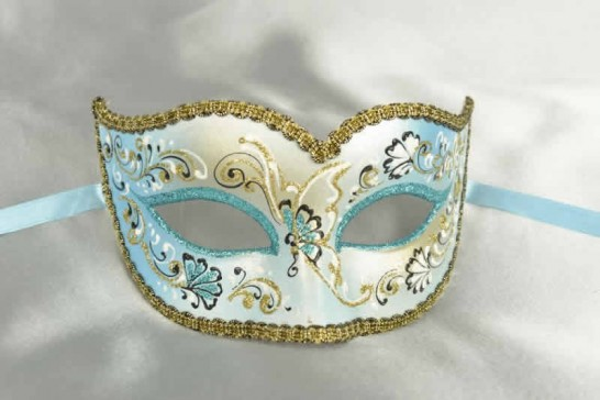Turquoise Semplice Fiore - Womens Gold Trim Sweetheart Mask