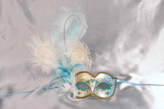 Turquoise and blue feathered mask