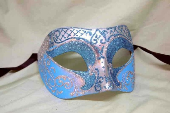 Unisex Colombina mask with glitter and silver trim in aqua