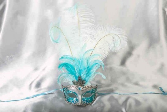 Struzzo Lux Tall centre feathered masquerade mask in silver and turquoise