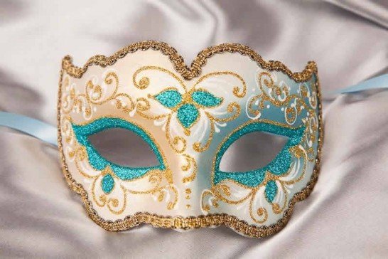 turquoise gold carnival mask - Iris