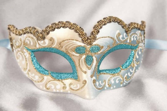 Small masquerade mask Baby Gold in turquoise