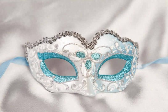 Small masquerade mask Baby Silver in turquoise