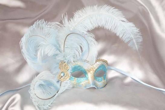 aqua Side feather mask - Semplice Gold