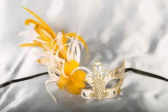 Paper Mache Venetian Mask with feathers in white and gold