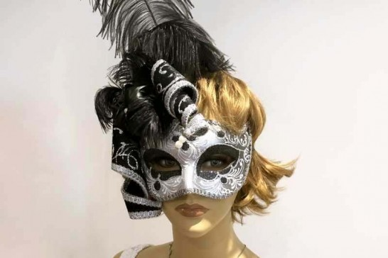 ladies jester feathered mask shown on female model face