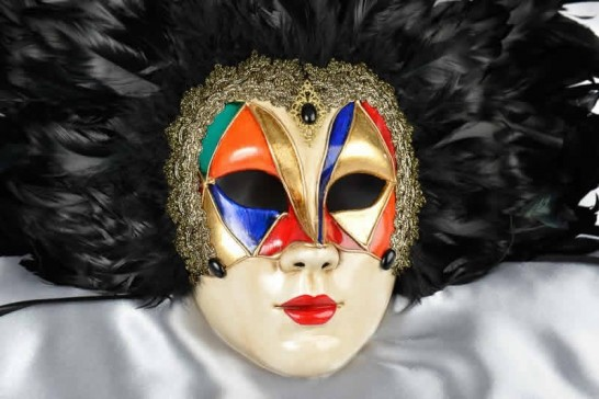 Full face feathered Venice carnival mask - close up
