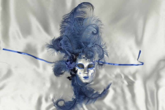 Volto Fiore - Blue and Silver Feathered Venetian Wall Mask