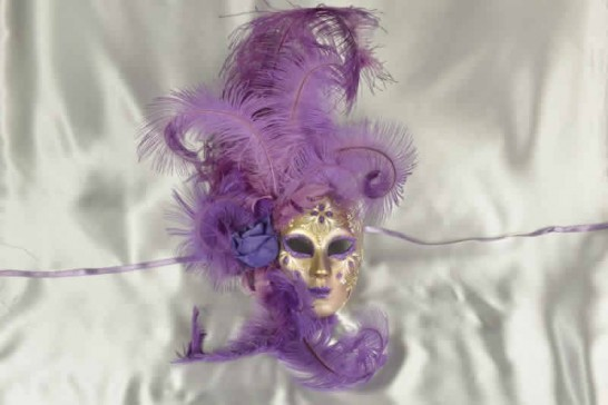 Volto Fiore - Purple and Gold Feathered Venetian Wall Mask