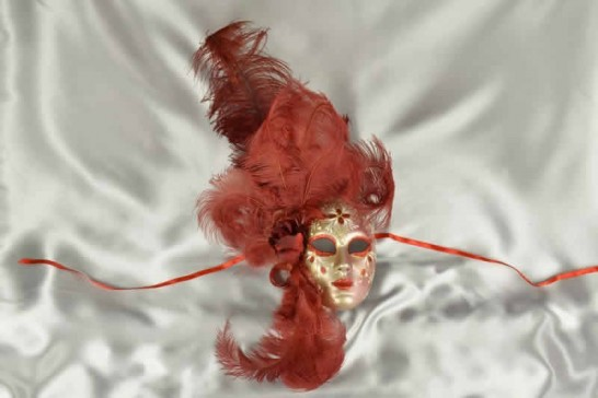 Volto Fiore - Red and Gold Feathered Venetian Wall Mask