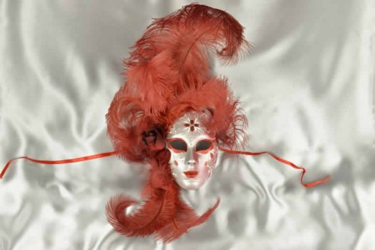 Volto Fiore - Red and Silver Feathered Venetian Wall Mask