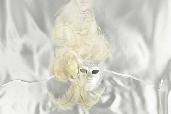 Volto Fiore - White and Silver Feathered Venetian Wall Mask
