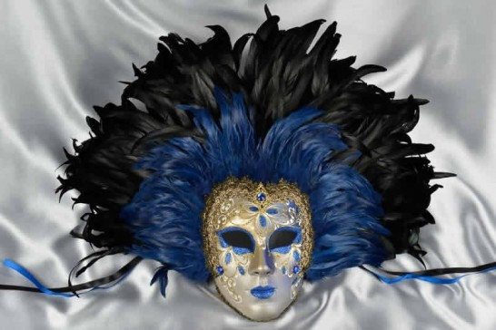 Volto Piuma Piena - Fiore Decoration and Full Black Feathers Wall Mask