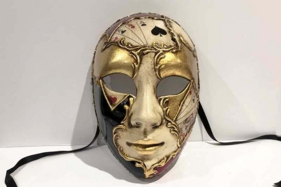 Poker decorated Volto full face masquerade mask