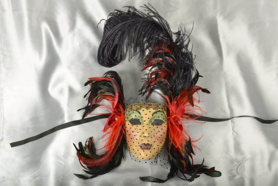 Volto Bella - Red and Black Elaborate Venetian Wall Mask