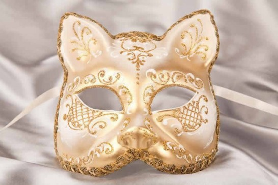 White gold Cat shaped masquerade mask
