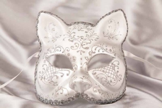 White silver Cat Mask for Animal Masquerading