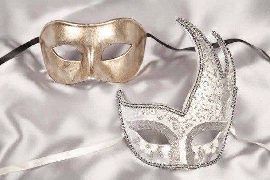 white silver ball masks for couple