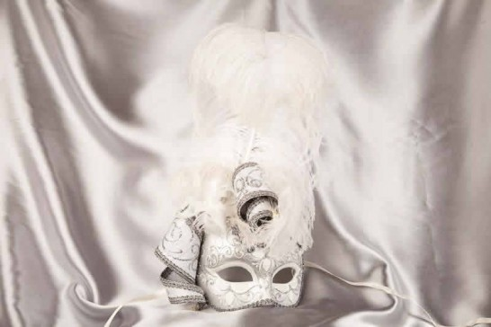 White and silver trim Venetian jolly mask with feathers and jester bells