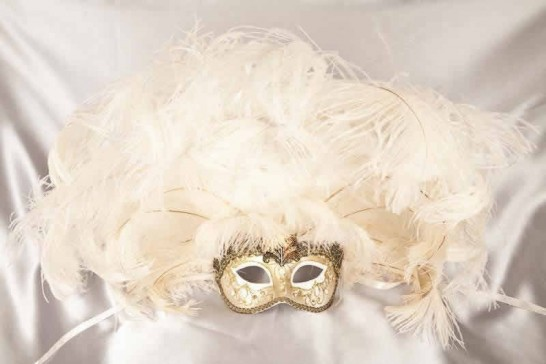 Full feathered Rio carnival mask for Venetian ball in gold and white