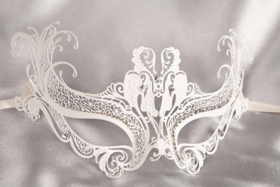 white luxury lace metal mask with crystals