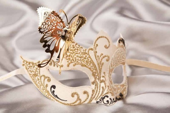 white gold butterfly ball mask