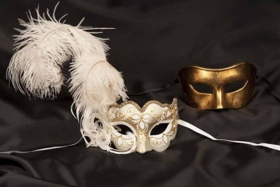 White Colo Iris Gold - Couples Masks with Feathers
