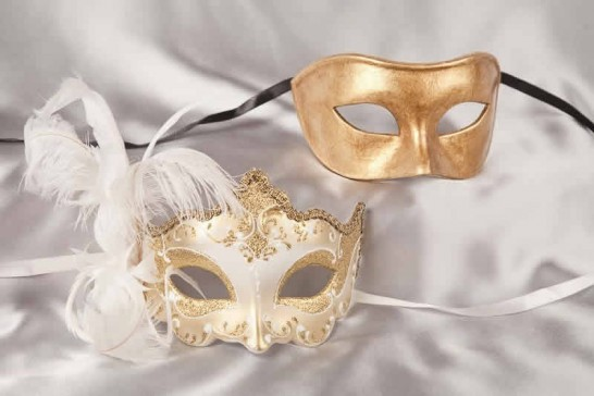 white gold couples ball masks