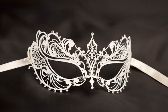 Bernice - White Budget Filigree Lace Metal Masks for Women