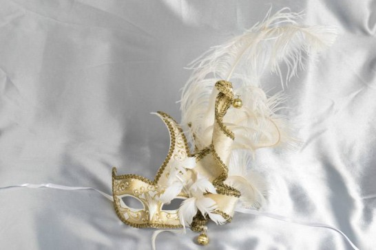 Cigno Armony Gold Venetian Jester Masks with feathers in White