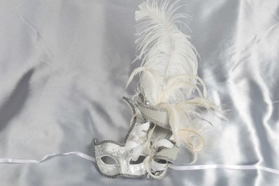 Cigno Armony Silver Venetian Jester Masks with feathers in white