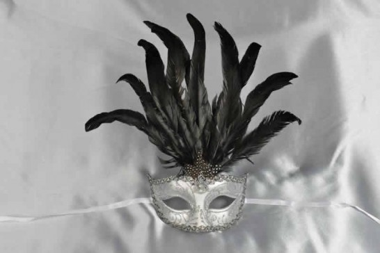 White womens feathered mask