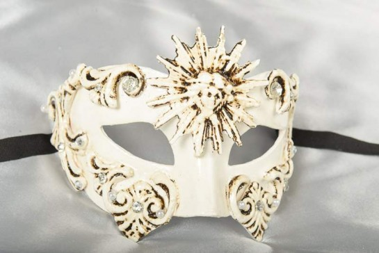 Venetian masquerade ball mask Barroco Sole in white