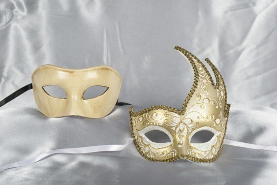 Couples masquerade masks in cream and gold