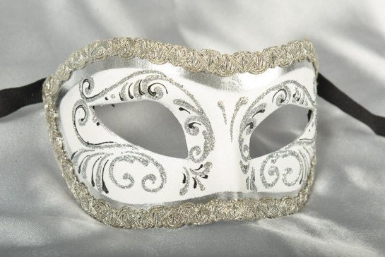 White and silver Colombina masquerade mask with glitter and braiding
