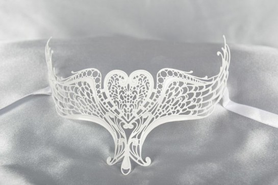 White lace mask for glasses
