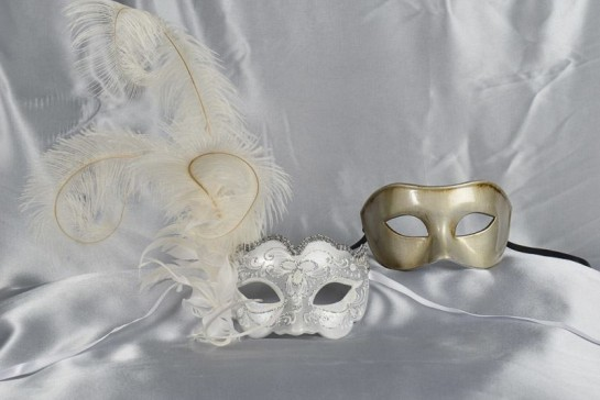 white silver couples masks