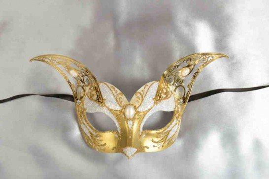 white and gold Luxury Venetian cat mask with filigree metal ears