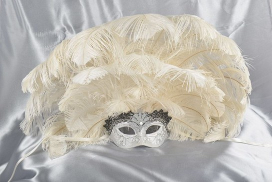 Full feathered Rio carnival mask in white and silver