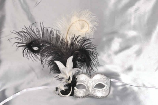 White and black feathered mask