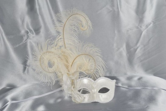 side feather masked ball mask in pearl white